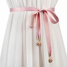 Pink Ribbon Thin Sash Satin Belt Golden Metal Rose Pendant Tassel Lace Up Bow Sashes For Dress Gown Sweater Trench Coat Shirt