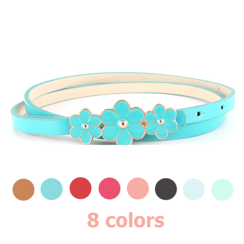 Candy Color 3 Flower Buckle Belt Women's Dress Ice Snow Princess Belt 2019 Female Red Belt Brand Slimming Belt