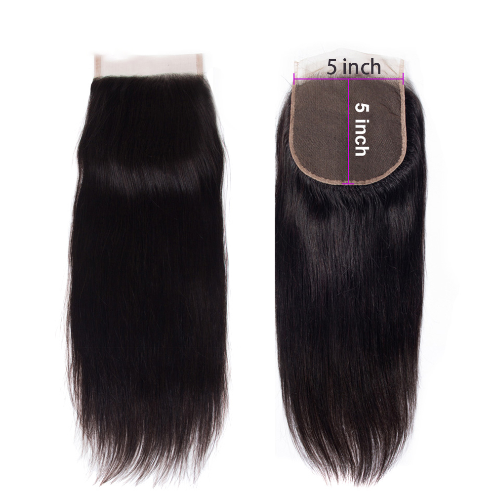 Straight Hair Kim K Lace Closure Middle Part Pre Plucked 5x5 Closure With Baby Hair  Swiss Can Bleached 2