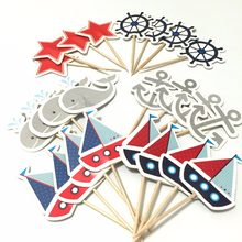 Cupcake Decorations 24pcs Mediterranean Sailor Ship Anchor Cake Topper cupcake picks flags for Kids Children Birthday Party(China)