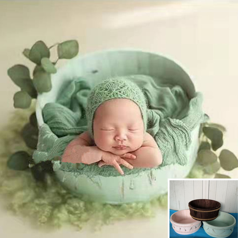 Newborn Photography Props Wooden Basin Full Moon Infants Baby Silicone Reborn Doll Toy Auxiliary Photo Shooting Basket Accessory