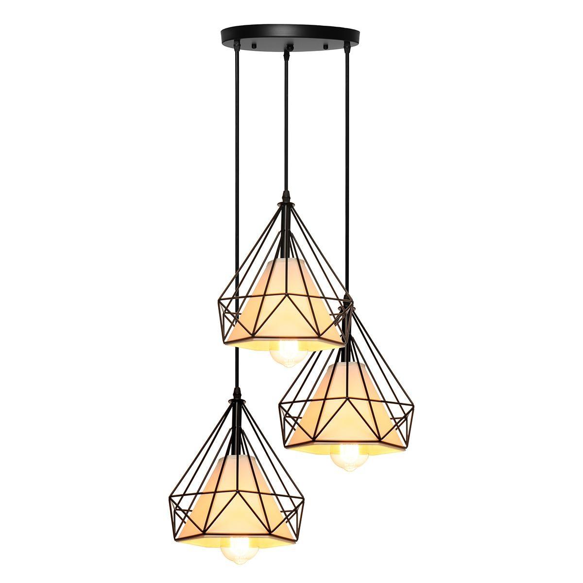 3 cabeças e27 moderna barra de luz pingente restaurante pendurado luminária decoração para casa chá padaria iluminação interior quadrado redondo - 3