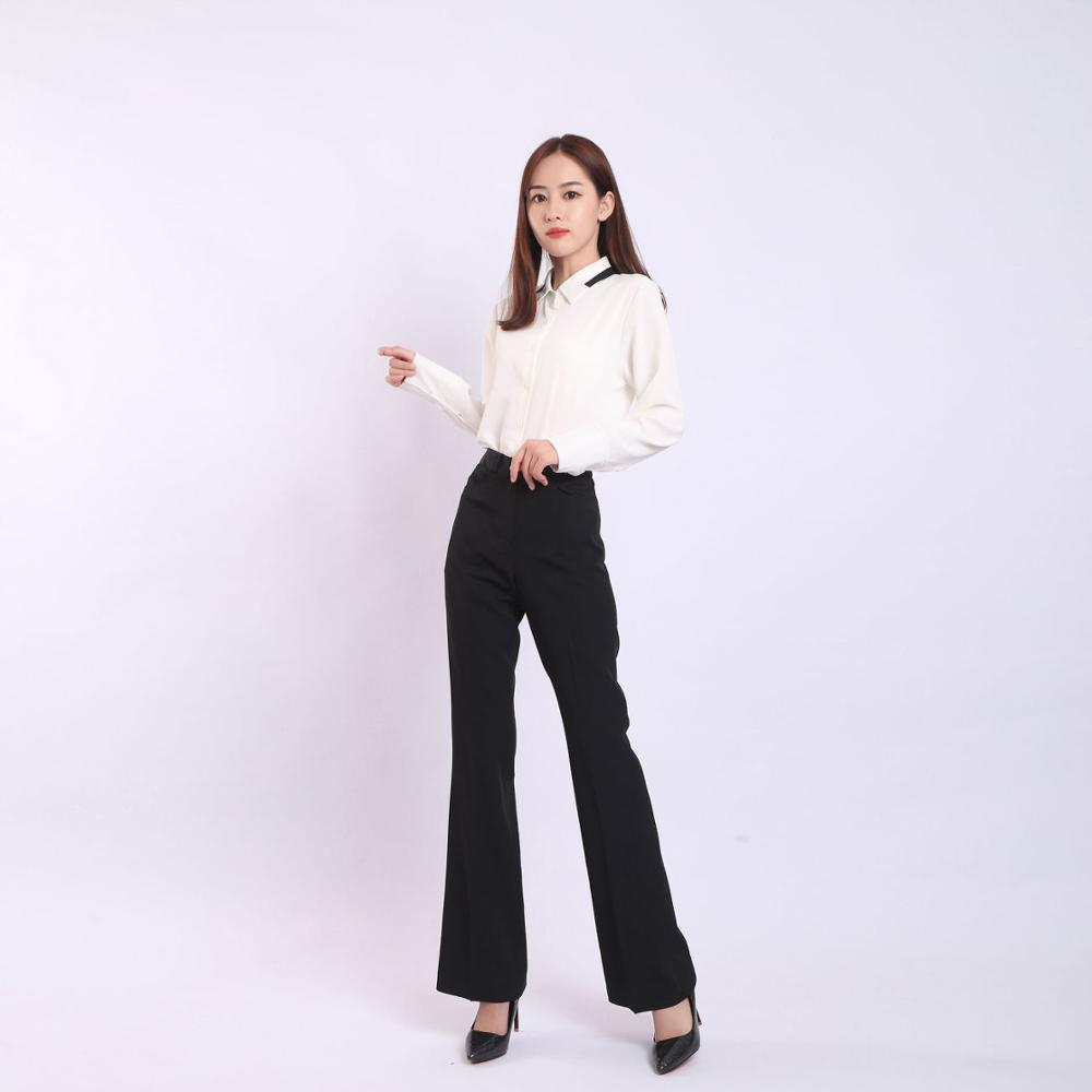 High Waist Straight Pants For Women 2019 Summer Woman Wide Leg Elastic Waist Workwear Trousers Female Suit Pants Office Ladies