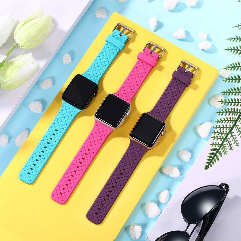 Bracelet motif d'armure pour bracelet de montre pomme 40mm 44mm montre apple pulseira 38mm 42mm iwatch correa 5/4/3/2/1 bracelet de montre en silicone