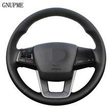 Mão costurado diy preto couro genuíno volante do carro capa para hyundai ix25 2014 2015 2016 creta 2016 2017