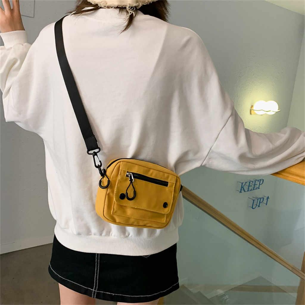 Transer حقائب كتف قماش عادية نساء موضة الكورية نمط حقائب صغيرة السيدات القماش Crossbody حقيبة ساعي Bolsa Mujer #