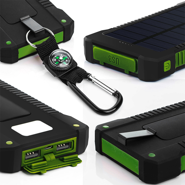 Solar Power Bank 30000mAh Dual USB Waterproof Solar Charger Power Bank Portable External Battery Pack Powerbank with LED Light 6