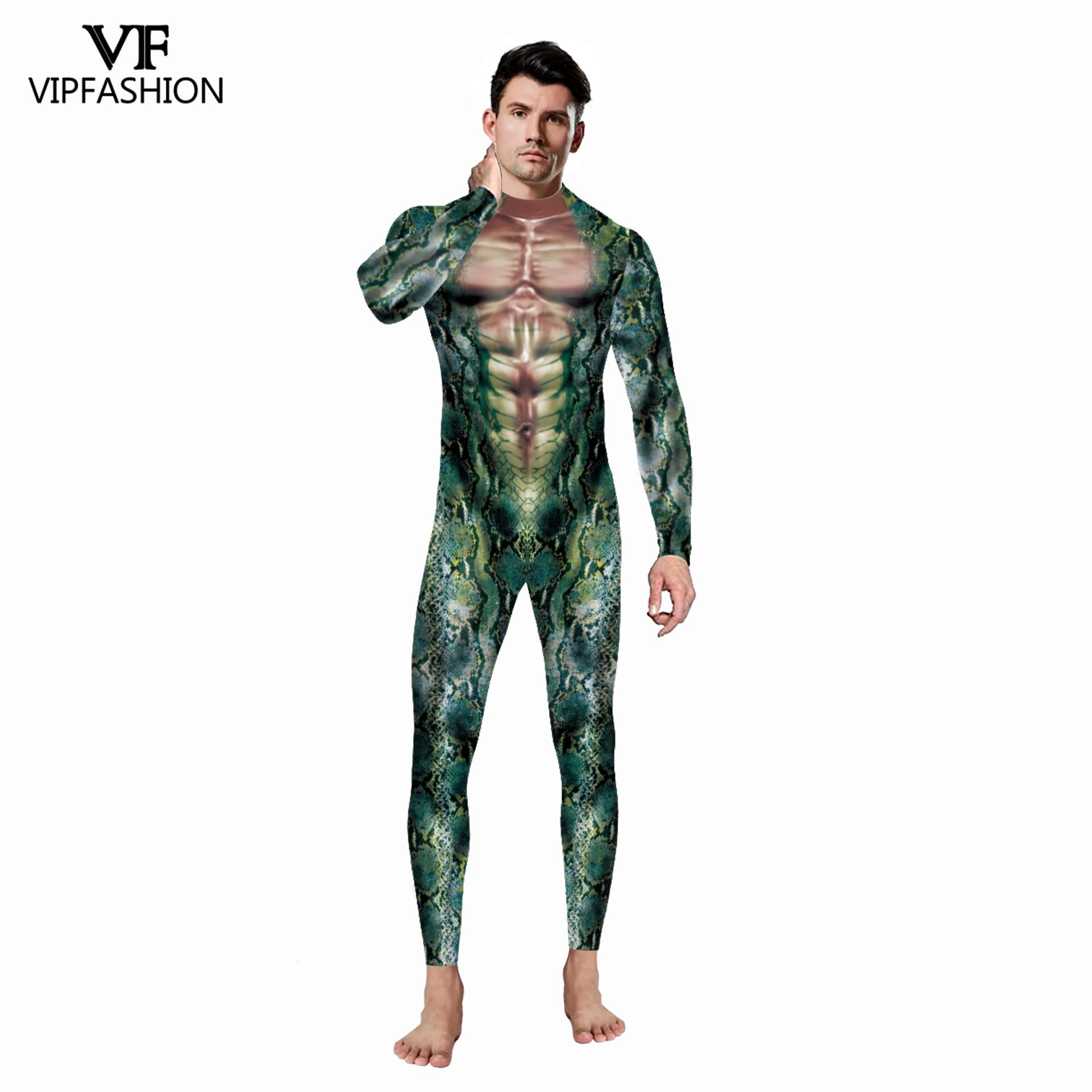 VIP FASHION Adult Sexy Men Halloween Costumes Snake 3D Printing Animal Party Zentai Catsuit Muscle Cosplay Bodysuit Jumpsuit