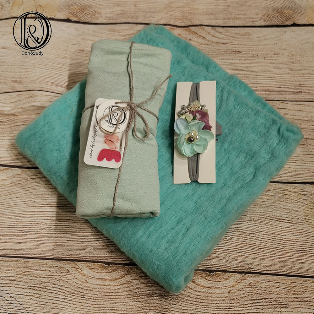 Don&Judy 50x50cm 100% Fluffy Wool Felt Blanket With Matched Wrap And Headband Basket Filler Newborn Photo Props Posing Blankets