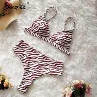 Traje de baño de dos piezas estampado de leopardo Simplee para mujer de cintura alta push up triángulo Sexy estampado floral de verano para mujer