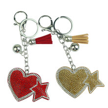 2019 new creative heart five-pointed star couple car keychain shiny bag pendant fashion gift
