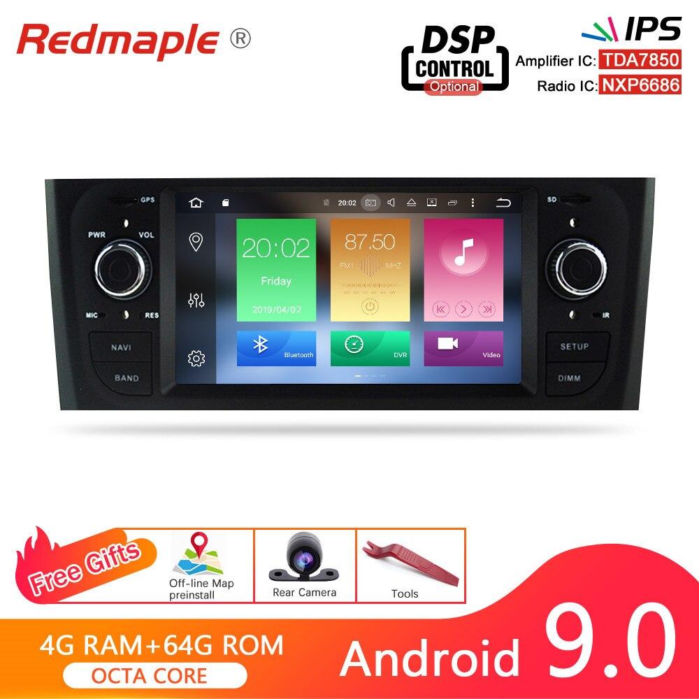 Tela ips android 9.0 rádio do carro gps navegação multimídia estéreo para fiat grande punto linea 2006-2012 dvd wifi bluetooth