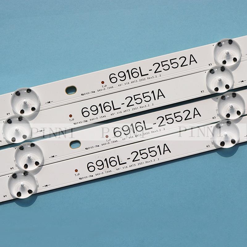 New Kit 8 pcs LED backlight bar for 49inch TV LG 49UH6500 6916L-2452A 6916L-2453A 6916L-2551A 6916L-2552A