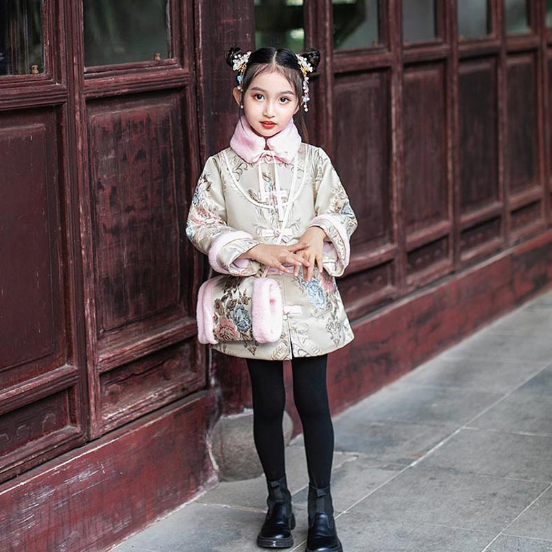 Girl Brocade Cotton Cheongsam Winter Kids Chinese New Year Costume Long Sleeve Qipao Dress Jacquard China Qi Pao Oriental Chipao