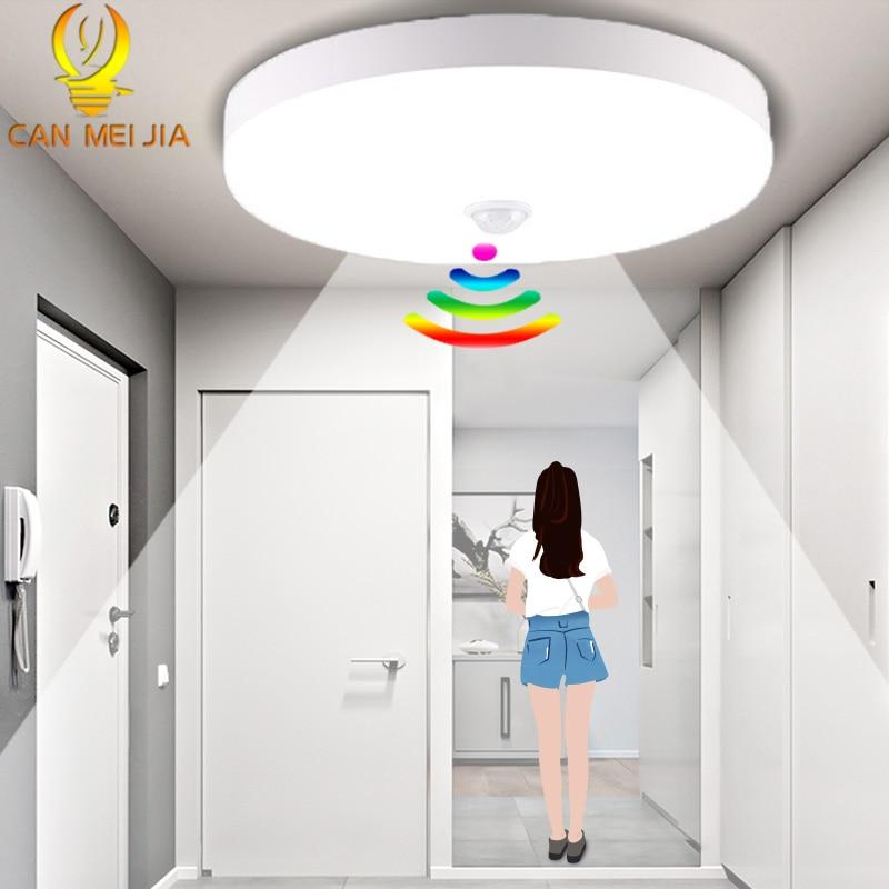 PIR Motion Sensor Led lampy sufitowe 220V 12W 18W 50W 20W nowoczesne lampy sufitowe UFO montaż powierzchniowy oprawa oświetleniowa do salonu