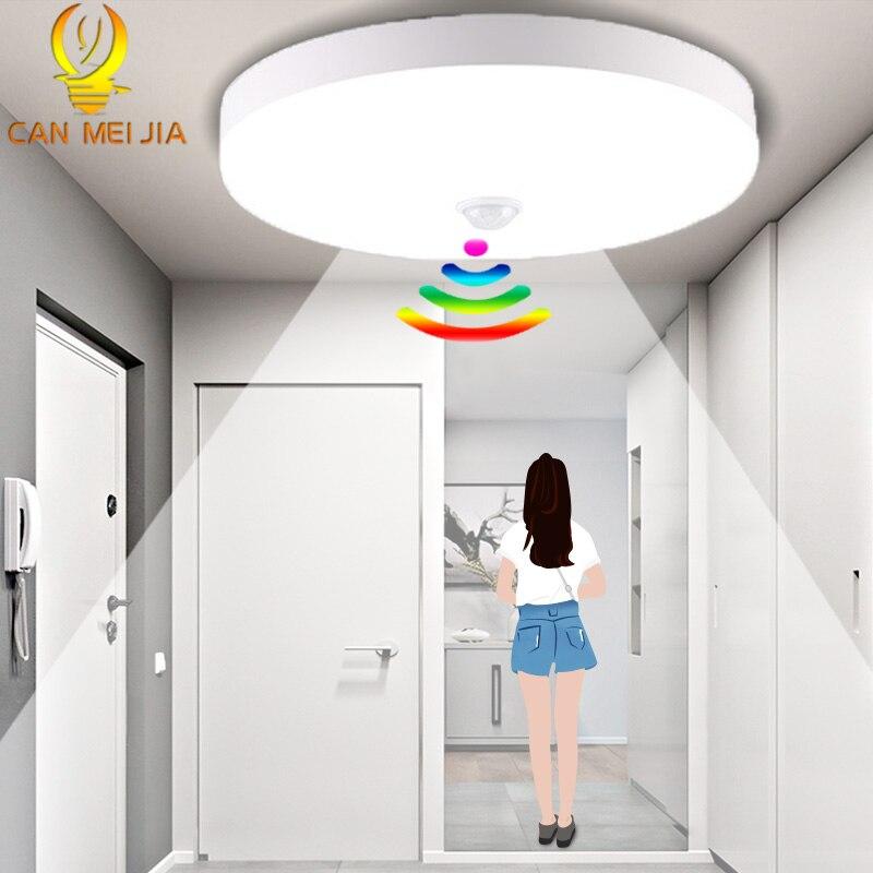 Sensor de movimiento PIR Led luces de techo 220V 12W 18W 50W 20W moderno UFO lámpara de techo montaje en superficie accesorio de iluminación para sala de estar