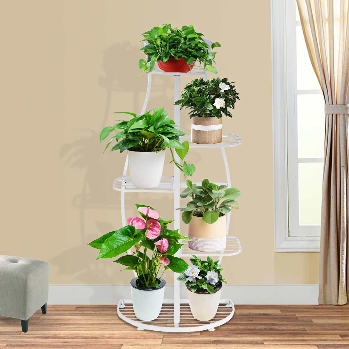 5 Tiers Multifunction Storage Shelf Iron Art Plant Holder Home Garden flower pot Organizer Living room balcony Storage Rack