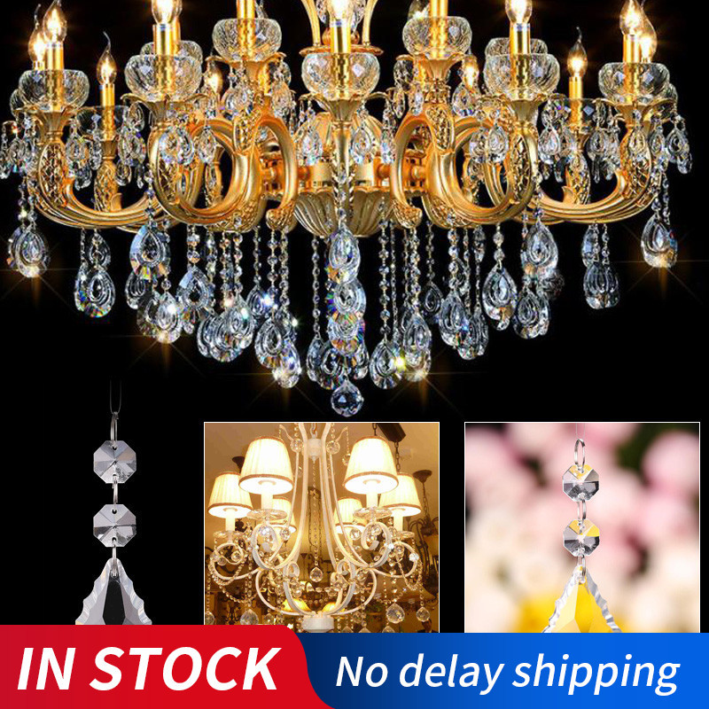 50mm Crystal Maple Leaf With 14mm Octagon Beads Garlands Strand Clear Glass Crystal Chandelier Pendants Party Wedding Decoration