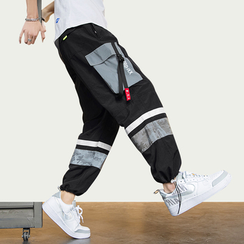 цена на Dossan Letter Ribbons Casual HipHop Joggers Cargo Pants For Men Block Hit Color Pockets Track Pants Male Trousers Sweatpants