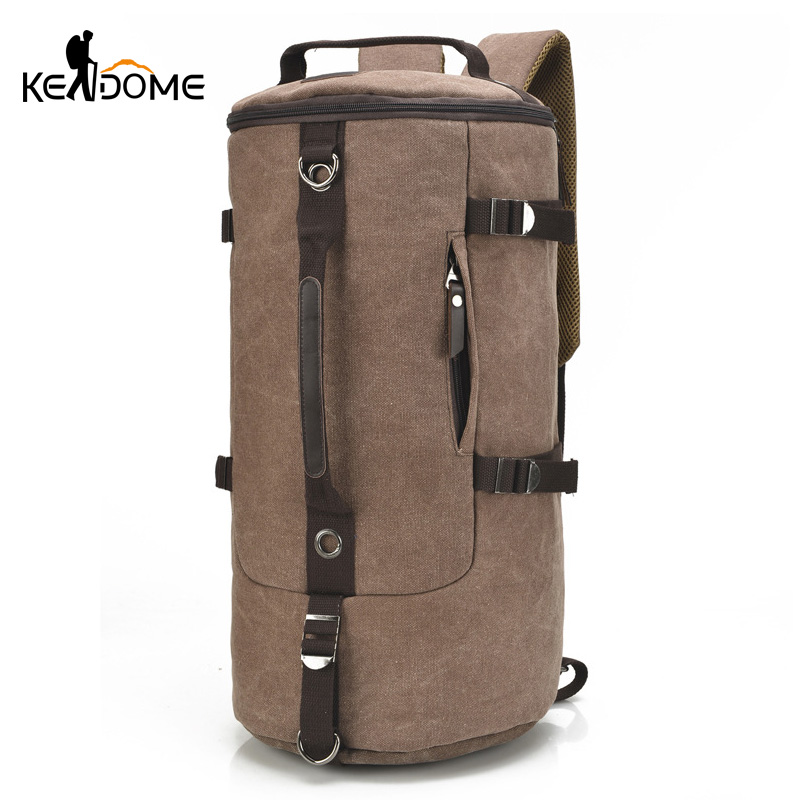Large Capacity Climbing Bags Round Bucket Waterproof Canvas Men Travel Duffel Shoulder Bag Suitcase Luggage Pack Sport XA28D