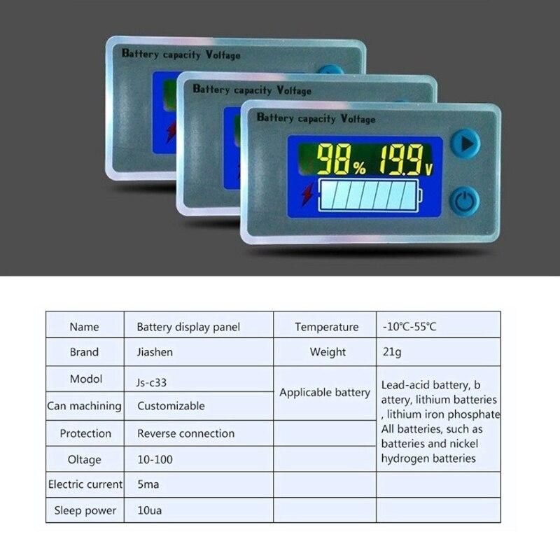 Image 4 - Battery Capacity Indicator Voltage Monitor 10 100V Universal Battery Capacity Voltmeter Tester LCD Car Lead acid Indicator