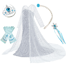 Girls White Elsa 2 Dress Kids Snow Queen 2 Fancy Princess Costume Children Birthday Party Cosplay Elza New Summer Clothes