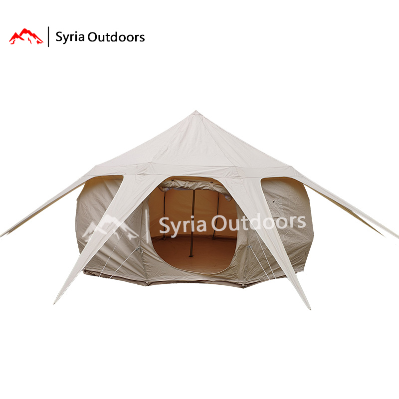 Outdoor multi person luxury camping summer camp accommodation canvas tent starry sky waterproof sun proof lotus tent image