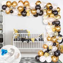 123 قطعة أسود أبيض الذهب بالونات قوس بالون مجموعة جارلاند للخطوبة الزفاف عيد ميلاد الطفل دش حفلة خطوبة ديكور