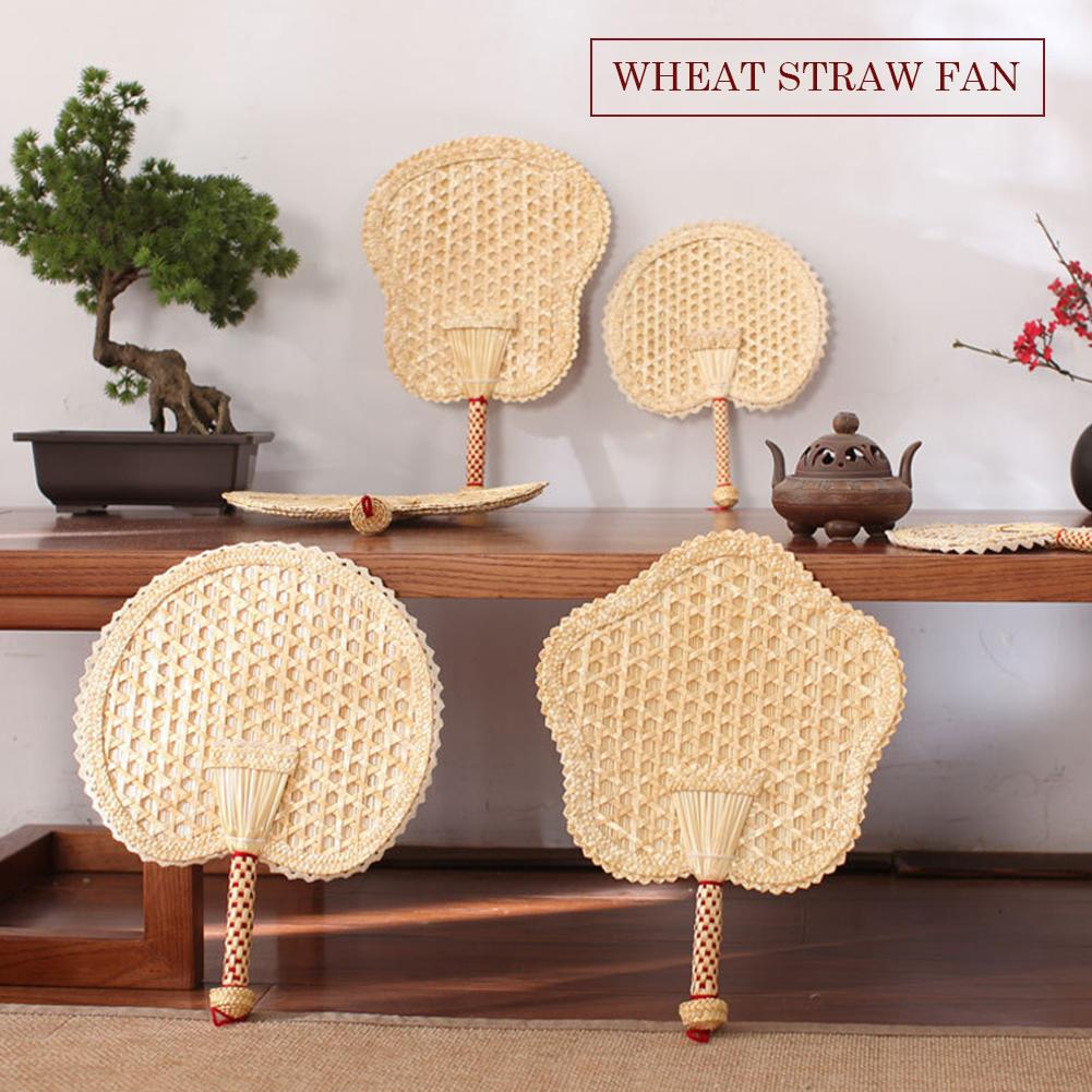 Handmade Woven Wheat Straw Weaving With Hand-cranked Big Fan Old Man Summer Natural Hand Fan