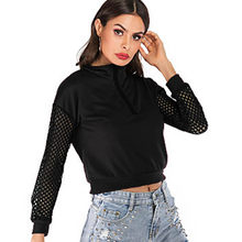 Sweatshirts Women Crop Tops Half Zip Long Sleeve Base Layer Mesh Sheer See-through Tops Shirts Plus Size Female Mujer De Moda(China)