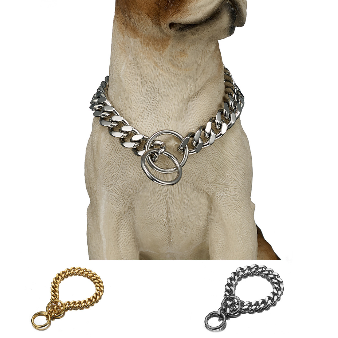 12 Mm/15mm Denim Pendant Pet Dog Chain A Set Of P Pendant Stainless Steel Neck Ring Hand Holding Rope Supply Of Goods
