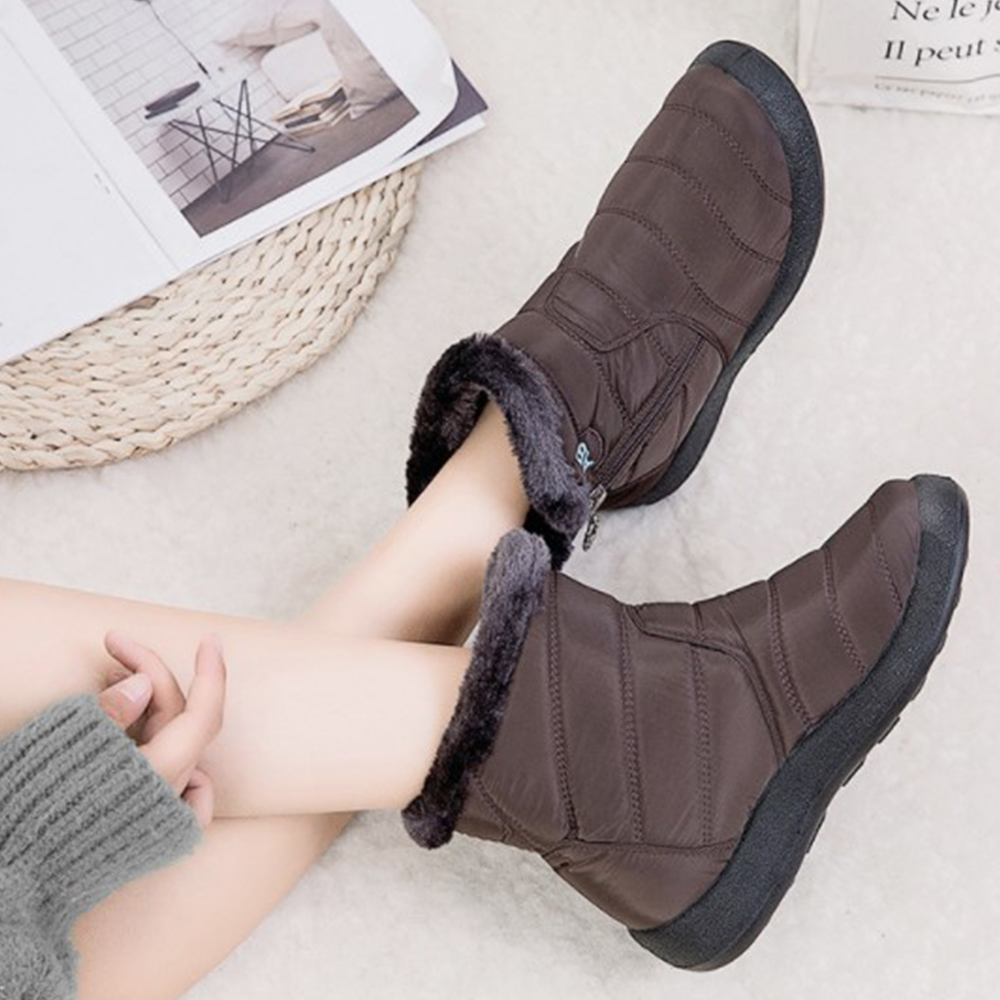 Women Boots Winter Thick Warm Fur Lined Snow Shoes Ladies Solid Round Toe Zipper Ankle Boots Female Waterproof Snow Booties D25 image