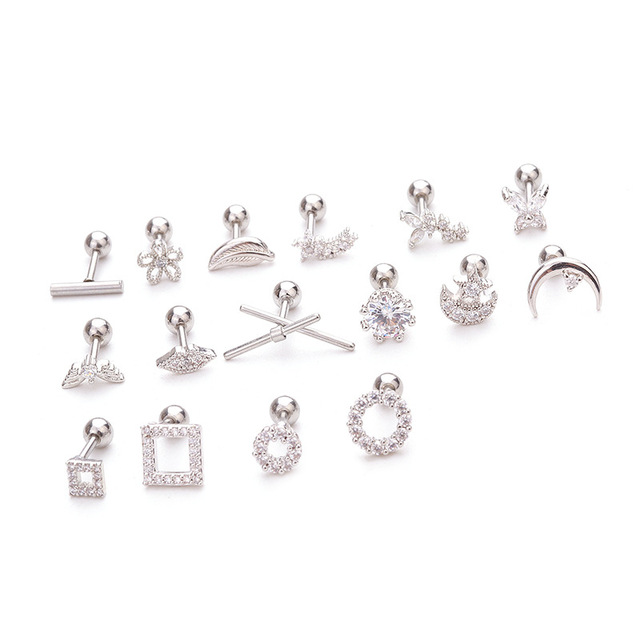 1Pc Cz Square Round Butterfly Flower Feather Cartilage Earring Tragus Stud Conch Rook Helix Ear Piercing.jpg 640x640 - 1Pc Cz Square Round Butterfly Flower Feather Cartilage Earring Tragus Stud Conch Rook Helix Ear Piercing Jewelry