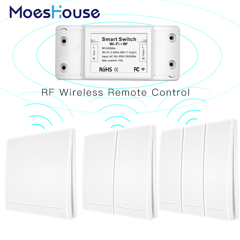 RF433Mhz+Wifi Wireless Remote Control Smart Switch,Wall Panel Transmitter ,Smart Life/Tuya APP ,Works With Alexa Google Home.