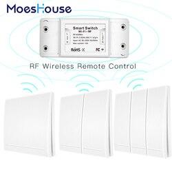 Rf433mhz + wifi interruptor inteligente de controle remoto sem fio, transmissor de painel de parede, vida inteligente/tuya app, funciona com alexa casa do google.