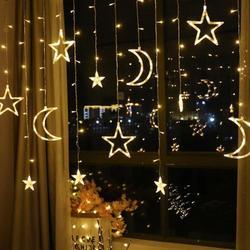 Łańcuchy świetlne LED Pentagram gwiazda księżyc kurtyna świetlna wróżka ślub urodziny lampki świąteczne dekoracja wnętrz światło 220V IP44 w Girlandy świetlne od Lampy i oświetlenie na