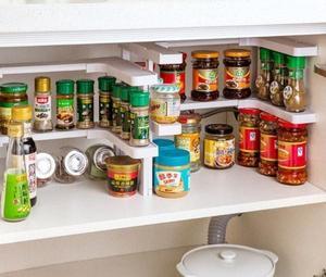 Image 3 - 2 Layers Kitchen Cabinet Cupboard Organizer Adjustable Kitchen Storage Shelf Spice Rack Countertop Organizer Cabinet Storage