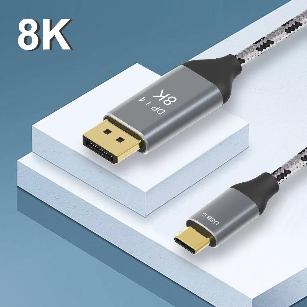 Câble USB Type C vers Displayport 8K @ 60Hz 4K @ 144Hz Thunderbolt 3 vers Displayport câble DP 1.4 adaptateur pour MacBook Pro projecteur PC