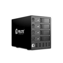 อลูมิเนียม 4 เบย์ 3.5 นิ้ว Enclosure สนับสนุน 64TB USB3.0 UASP, HDD Docking Station เครื่องมือฟรีสี่สวิทช์