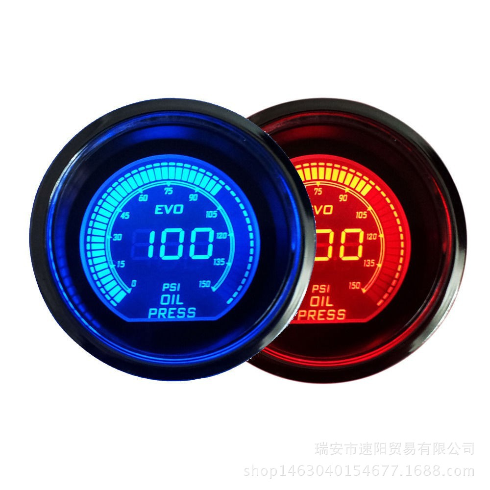 2-Inch 52 Mm Black And White With Pattern Case Red Double Color With Numbers LCD Display Oil Pressure Gauge Automobile Instrumen