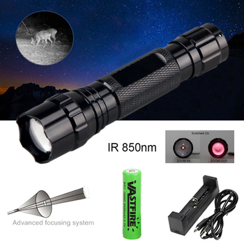 5W IR 850nm Professional Night Vision Hunting Torch Tactical Infrared Radiation  Zoomable Outdoor Linterna Waterproof Flashlight 18650 ir night vision flashlgith 5w 940nm 5w 850nm led zoomable infrared radiation lantern tactical hunting torch gun mount