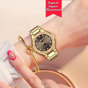 Image 5 - MISSFOX אלגנטי אישה שעון יוקרה מותג נקבה שעוני יד יפן Movt 30M עמיד למים זהב יקר אנלוגי ז נבה קוורץ שעון