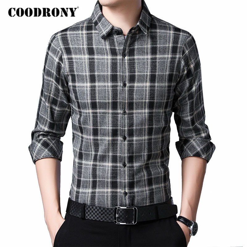 COODRONY Brand Long Sleeve Shirt Men 2020 Spring Autumn New Arrival Social Business Casual Plaid Shirts Mens Chemise Homme C6037
