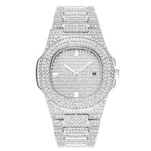 Dropshipping 2021 najlepiej sprzedające się produkty AAA zegarki męskie Ice Out zegarki kwarcowe srebrny w pełni diamenty Relogio Masculino tanie tanio specht sohne 21 5cm Moda casual QUARTZ NONE 3Bar Przycisk ukryte zapięcie CN (pochodzenie) ALLOY Hardlex Kwarcowe Zegarki Na Rękę