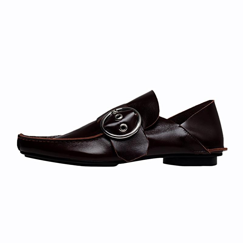 Haoshen & girl 2020 nova primavera apartamentos de couro genuíno oxfords fivela ponto dedo do pé retro casual mulher neutra sapatos planos tamanho 34 40 - 2