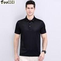 Boollili 2020 New Polo Shirt Men 100% Silk Summer Clothes Lapel Business Ice Silk shirt Short Sleeve Shirt Solid Color