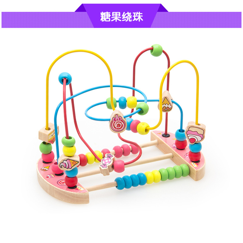 Children Baby Wood Educational Big Baby Bead-stringing Toy Product Toys For Children And Infants 18 Unisex Baby Non-