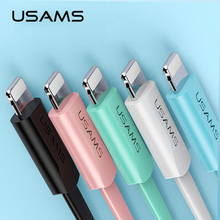 USAMS Flat USB Cable for iPhone 6 cable 2A light Cable for iPhone X XS 8 7 6s 5s se 2m mobile phone cable for iPad cord charging