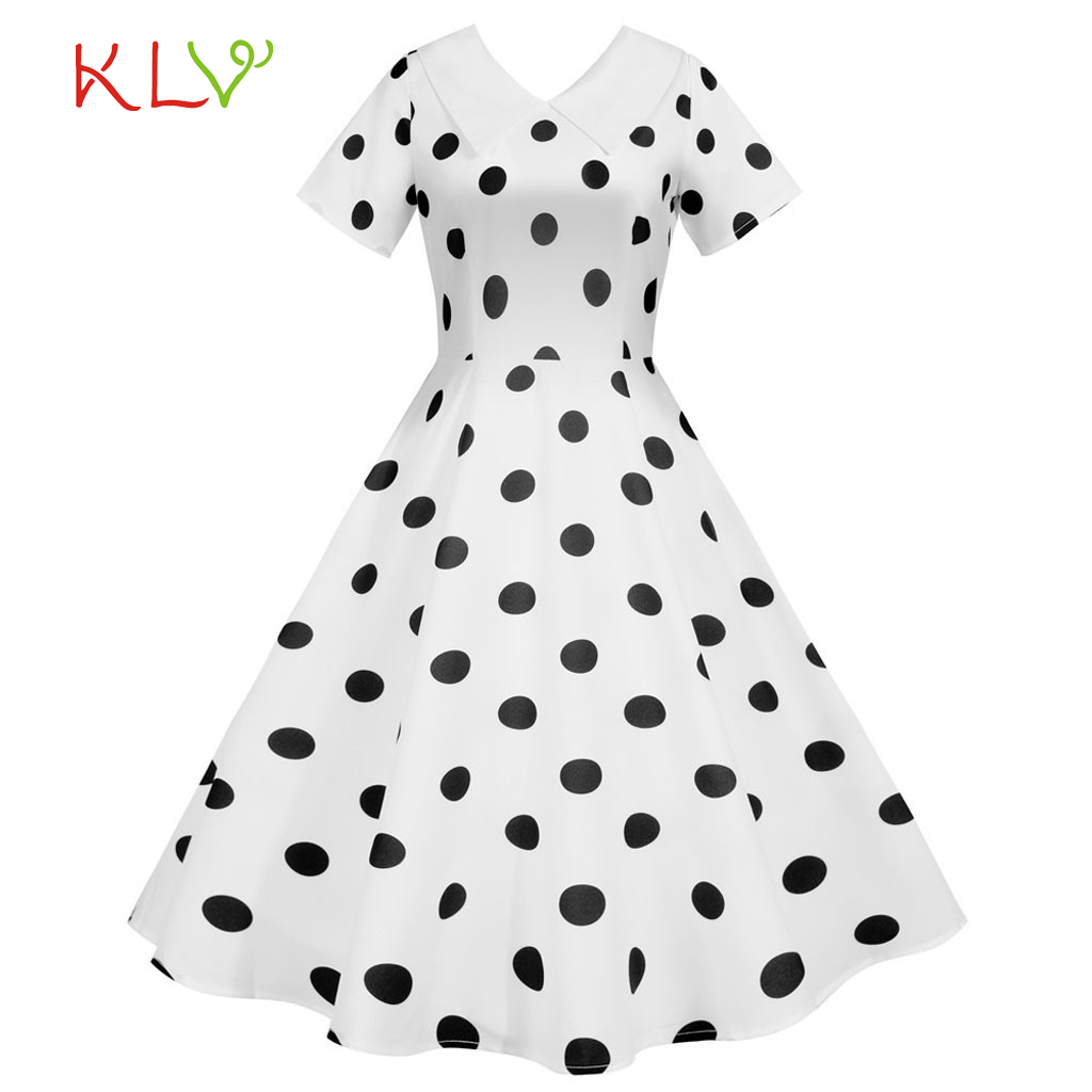 Polka Dot Vintage <font><b>Dress</b></font> Old Style <font><b>1960s</b></font> French Chic Summer <font><b>Dresses</b></font> Evening Party White Casual Fashion Women Clothes Vestidos image