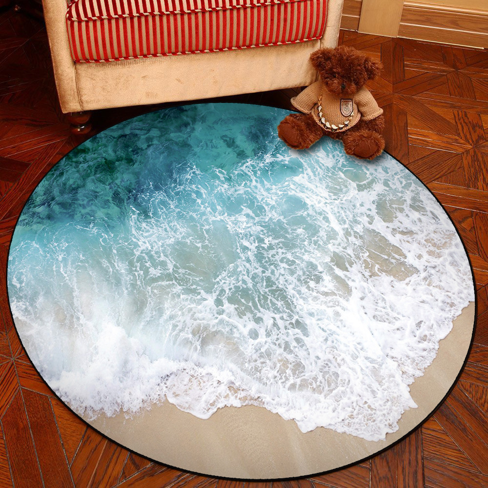 <font><b>3D</b></font> Sea Beach Round Carpet Computer Chair Pad Living Room Mat Kids Room Bedroom Anti-slip Rug <font><b>Tapete</b></font> Para Sala Home Decor image